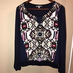 NY Collection Navy Printed Blouse - Size Small